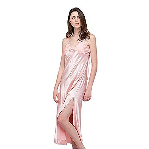 - SexyTown Women's Long Trimmed Satin Nightgown V-Neck Full Slip Lingerie Sleepwear (Large, Rubber Red)