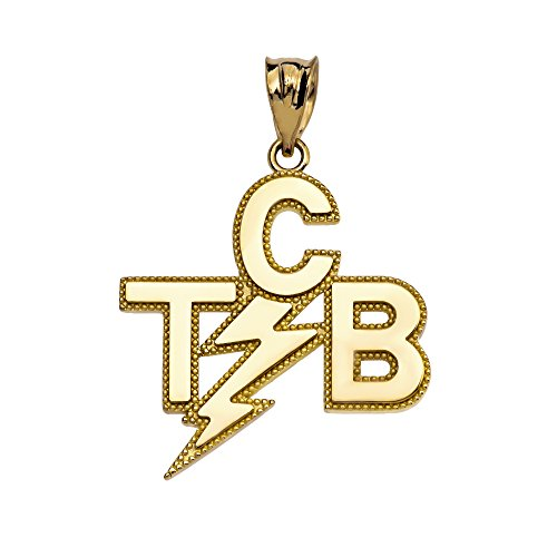 Taking Care of Business In A Flash (TCB) 14k Yellow Gold Pendant by Trendy Necklaces