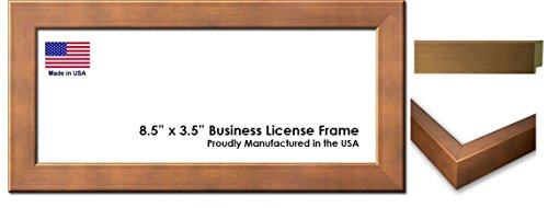 Metallic Wood Frame - 8.5 x 3.5 Inch Professional Business License Frame - Metallic Bronze Wood