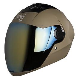 Steelbird Yooshopper SBA-2 Men's ABS Shell Helmet for Bikers with Golden Polycarbonate Visor for Night Vision (Medium…
