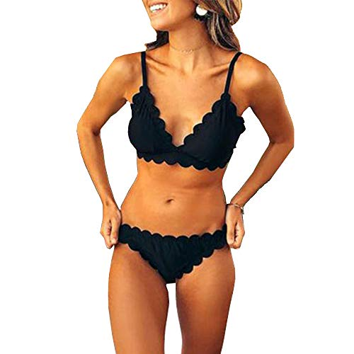 (Women Two Pieces Classic Scallop Bathing Suits Sexy V Neck Bikini Set Swimsuits (L, Black) )