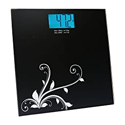 ChoiceMMed Precision Digital Weighing Scale with Blue Backlight, in Tempered Glass with Step-on Activation, 396 lb. Edition