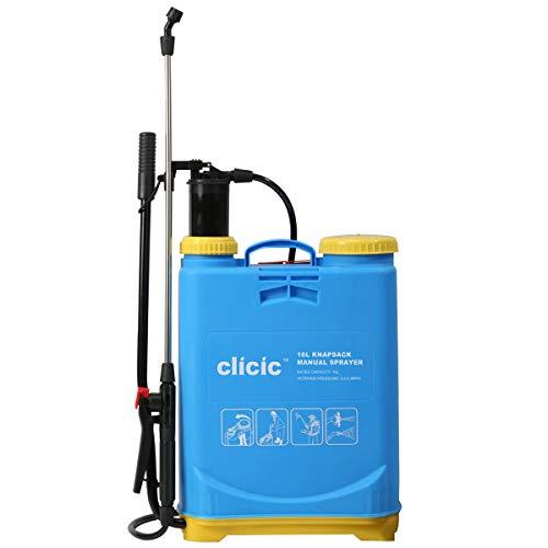 CLICIC Backpack Sprayer 4 Gallon (16L) - Knapsack Manual Hand Pump Sprayer for Garden Lawn Yard Farm