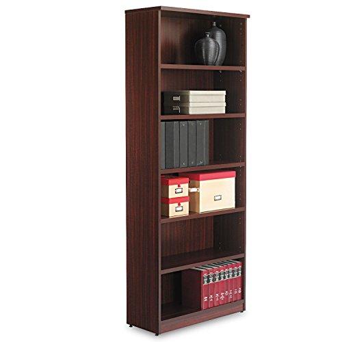 Alera VA638232MY Valencia Bookcase, 6-Shelf, 31-3/4 x 14 x 80-3/8, Mahogany