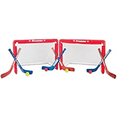 Once you experience the thrilling fun of knee hockey, you'll be hooked! Franklin Sports is proud to present an indoor hockey set like no other. Durable and long-lasting, yet easy enough to set up and take down, this indoor hockey set is perfe...