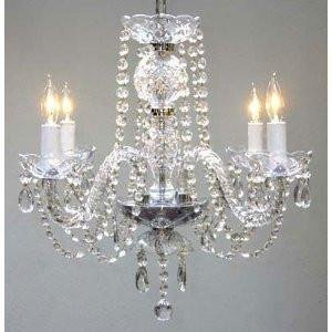 New Authentic All Crystal Chandelier Chandeliers H17 x W17 SWAG PLUG IN-CHANDELIER W 14 FEET OF HANGING CHAIN AND WIRE