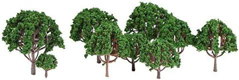 20枚のミニプラスチック緑の木々スケールの建築模型列車の鉄道風景風景レイアウトの庭の装飾の木のおもちゃ