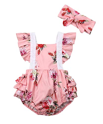 (Newborn Kids Baby Girls Clothes Floral Jumpsuit Romper Playsuit + Headband Outfits (Red 2, 6-12)