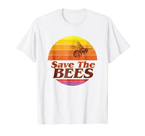 Save The Bees T-shirt Flower Men Women Vintage Retro Fashion