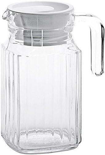 KRUG QUADRO Luminarc 0,5 Liter mit Deckel weiß GLASKRUG Getränke Servierkrug