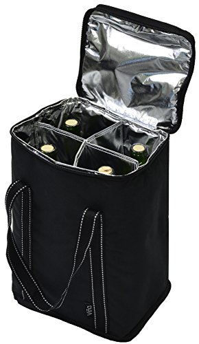 Vina 4 Bottle Wine Carrier - Travel Insulated Wine Carrying Case Tote Bag for Champagne Picnic Cooler Black
