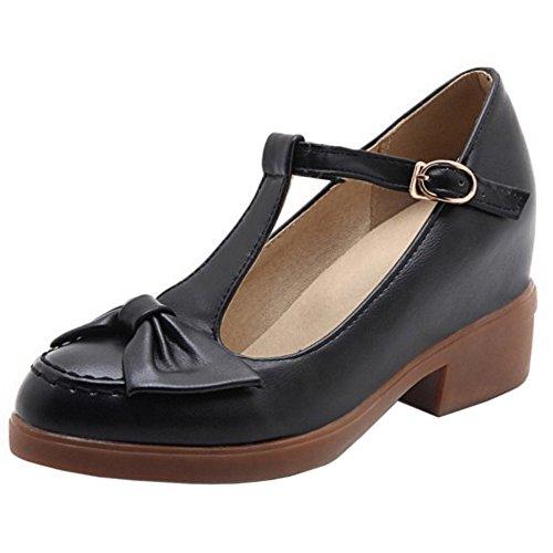 COOLCEPT Zapatos Moda Correa En T Dedo Del Pie Cerrado Bombas Zapato With Bowtie para Mujer Negro