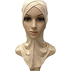 HeroNeo Muslim Cotton Full Cover Inner Hijab Caps Islamic Hats Islamic Underscarf Colors (Nude)