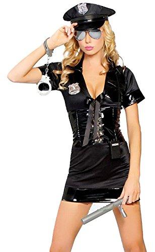 Disfraz de policía para mujer, 3 piezas, color negro, tallas 38 a ...