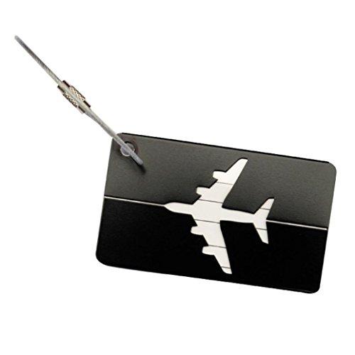Datework Airplane Shape Square Luggage Tag (black)