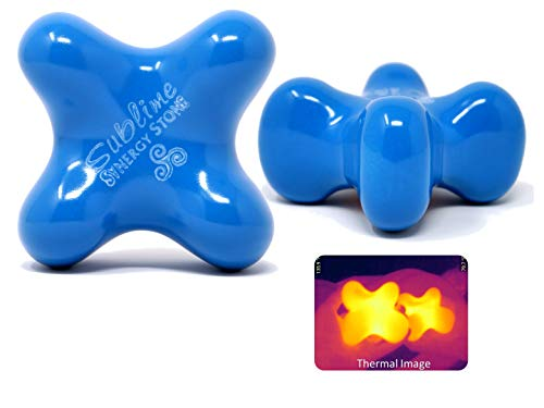 Sublime (Sky)(Single) Synergy Stone - Contoured Hot Stone Massage Tool - Relaxing and Therapeutic for Neck, Back, Legs, Feet - Ultra-Smooth for Massage on Skin with Oil or Over Clothes