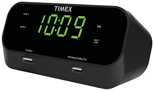 timex-t129b-rediset-dual-alarm-clock-with-dual-usb-charging-and-extreme-battery-backup-black