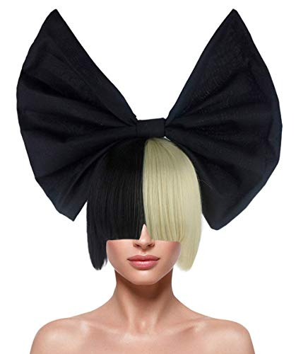 Australian Singer Two-Toned Straight Wig with Bow, Black/Blonde Adult HW-205