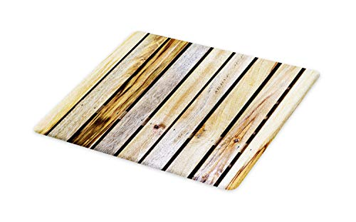 Ambesonne Rustic Cutting Board, Vintage Timber Fence of Country Rough Rural House Cabin Village Mother Earth Nature Print, Decorative Tempered Glass Cutting and Serving Board, Large Size, Brown (Country Block Village)