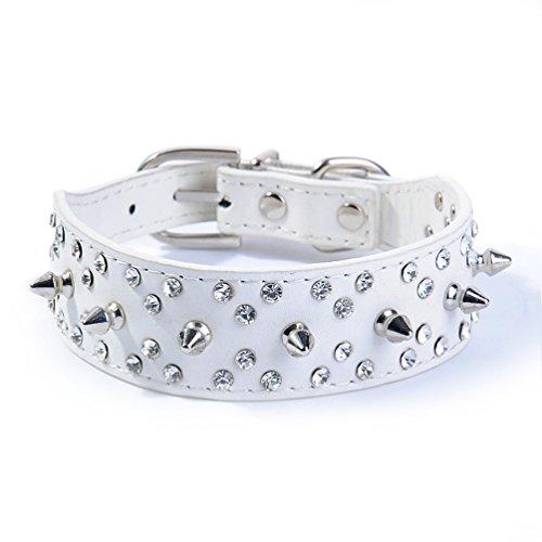 (Pet Rivet Spikes Studded Bling Rhinestone PU Leather Collar for Medium & Large Dogs Adjustable (M, White))