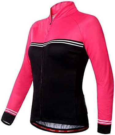 サイクルジャージ レディース夏サイクリングジャージーロードバイクシャツ 長袖サイクリングジャージーポケット付き 吸汗速乾高通気 (色 : Pink-black, サイズ : XL)