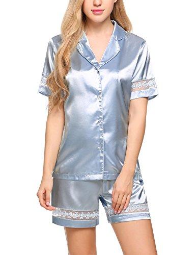 Elastic Waist Short Sleeve Pajama Set - 4