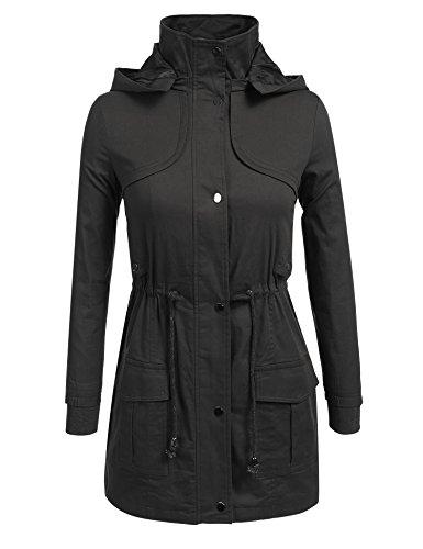 Anhoney Women Militray Anorak Parka Versatile Jackets Coat With Drawstring
