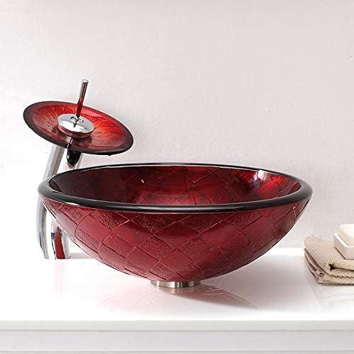 セラミック洗面器 ラウンド強化ガラスシンクボウルアート洗面台 バスルームキャビネットシンク (色 : 赤, Size : 42.5x42.5x15cm)