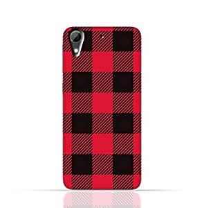 HTC Desire 626 TPU Silicone Case with Red and Black Plaid Fabric Design