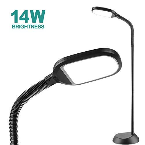 14W addlon LED Floor Lamp with: Reading Light Craft Lights 2 Brightness Level Dimmable Head Natural Daylight Standing Pole Light with Gooseneck for Sewing Bedroom Office Artist (Black) -Floor Lamps (Sewing Floor Lamp)