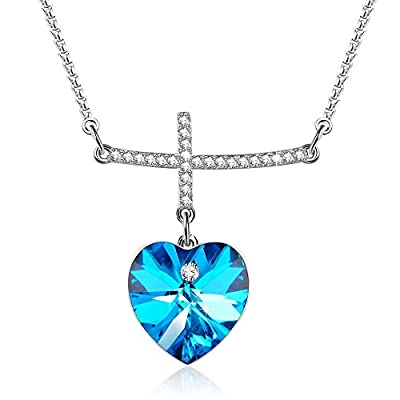 """My Prayer""Cross Pendant Necklace Diamond necklaces Blue Crystal from Swarovski,Women Jewelry Gifts for her from George Smith"
