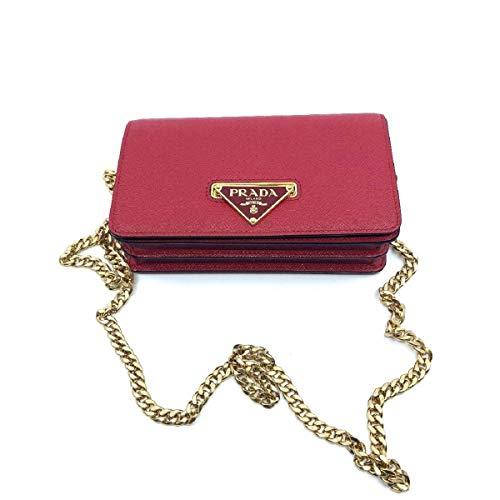 - Prada Bandoliera Red Leather Handbag w Triangle Logo 1BH133