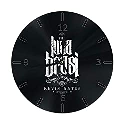 Wall Clock Silent Non Ticking Round Wall Clocks, Kevin Gates Clocks 10 Inch Battery Operated Quartz Analog Quiet Desk Clock for Home, Office, School