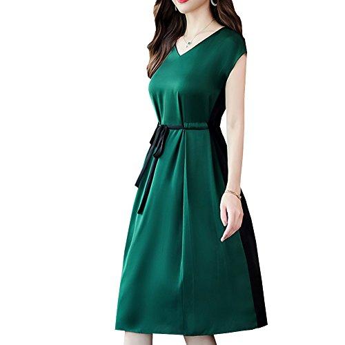 Femme Taille S8815 Grande Robe Soirée Courtes De Soie Vert Fête Manches Longue Cocktail Valin Midi g0z8Wnx8