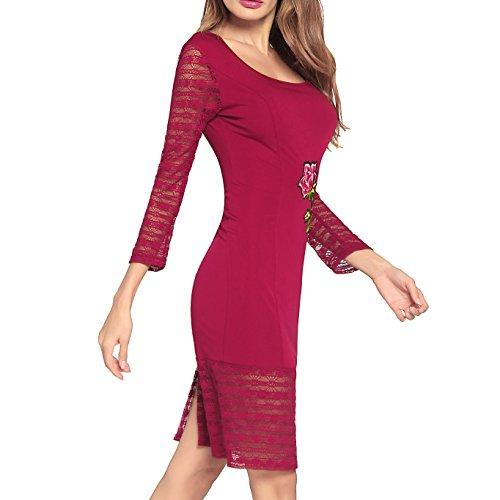 Dissa Corps À Manches Longues Vintage Femmes De Con Cocktail Robe D'été Rouge Midi