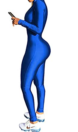 JOKHOO Women Sexy Long Sleeve V Neck Zipper Front Bodycon Slim Long Pants Jumpsuit Romper (Blue, S)