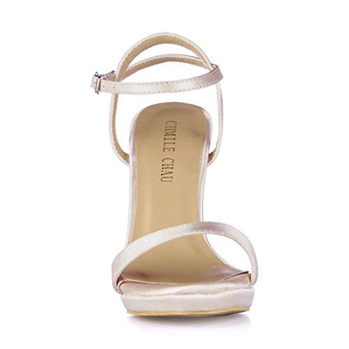 correa satén sexy Fiesta sandalias Tobillo Marfil Aguja Para zapatos Tacon Chmile Chau vestido De Mujer plataforma 1cm Alto zw1nAF7x