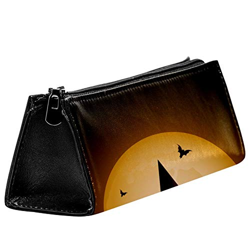 Anmarco Halloween Witch's Cat and Full Moon Pen Bag Stationery Pouch Pencil Bag Cosmetic Pouch Bag Compact Zipper Bag]()