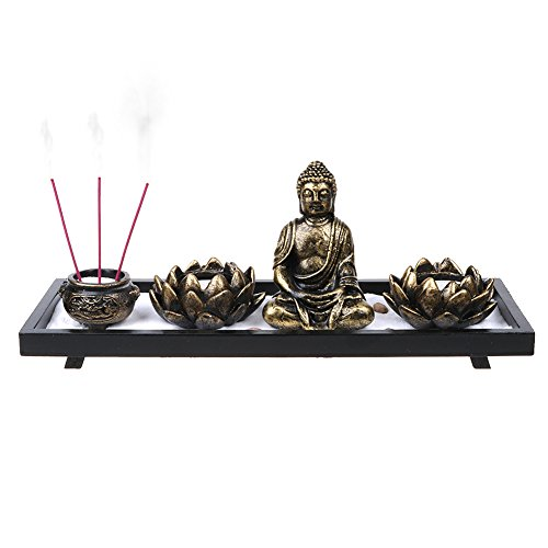 On Zen Garden | 1 Set of Mini Fengshui Garden Landscape with Buddha Statue Incense Burner Candle Holder White Sand | Premium Quality Metal and Non Toxic Genuine Wood for Meditation Decoration | 340.1