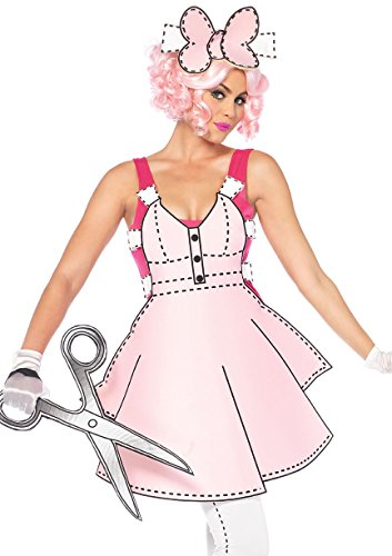 Womens Paper Doll Costume (Leg Avenue 5 PC. Paper Doll, romper, foam dress, leggings, foam scissors, hair bow SMALL PINK/WHITE)