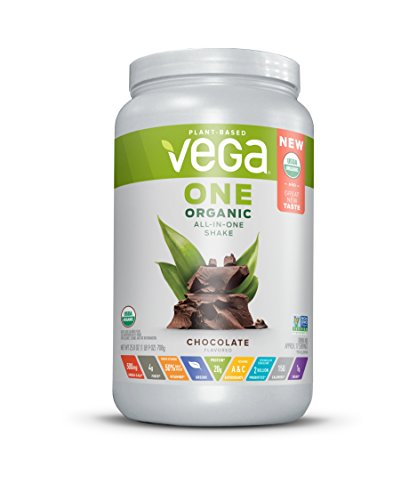 Vega One Organic All-in-One Shake Chocolate, 17 servings,Plant Based Vegan Protein Powder, Non Dairy, Gluten Free, Non GMO, 25 Ounce