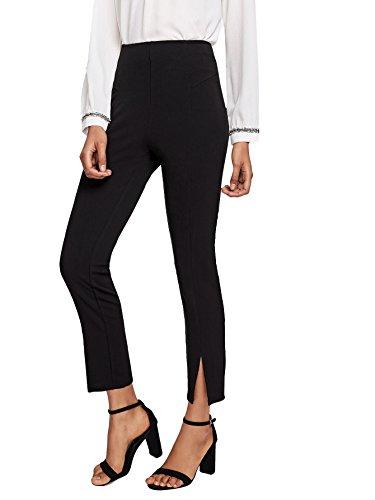 - Floerns Women's Slim Fit Straight Leg Split Hem Skinny Pants Black XS