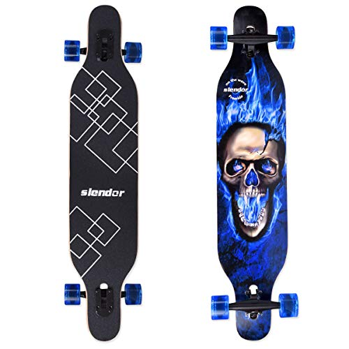 Slendor Longboard Skateboard 42 inch Drop Through Deck Complete Maple Cruiser Freestyle, Camber Concave