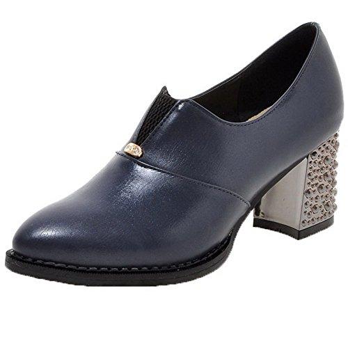 VogueZone009 Damen Ziehen auf Spitz Zehe Mittler Absatz PU Leder Rein Pumps Schuhe Blau