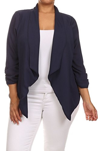 2LUV Plus Women's Open Front Gathered Sleeve Plus Size Blazer – X-Large, Navy
