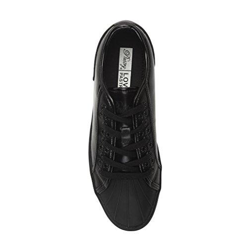 Gebreide Unisex Fashion Sneakers - Glanzend, Paris Praline Stijl, Zwart / Zwart Zwart / Zwart