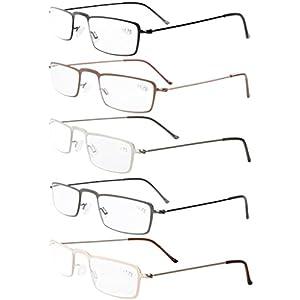 Eyekepepr 5-Pack Stainless Steel Frame Half-eye Style Reading Glasses Readers +1.25