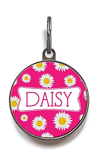 Wag-A-Tude Tags Daisy Pet Dog ID Tag Personalized Custom for Cats and Dogs with Color Options Strong Durable Metal Dog Tag (Large)