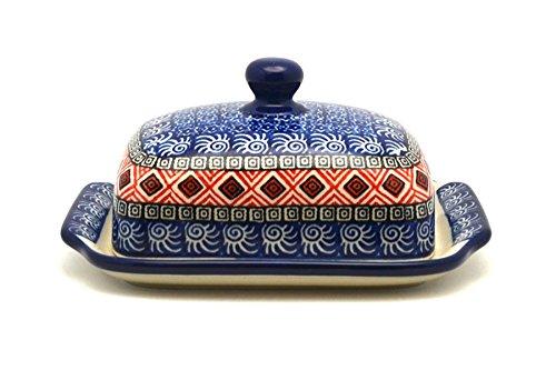Polish Pottery Butter Dish - Aztec Sun