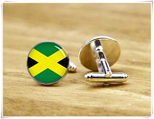 Beautiful Dandelion Flag of Jamaica Cufflinks, National Flag Cufflinks, Patriot Cufflinks